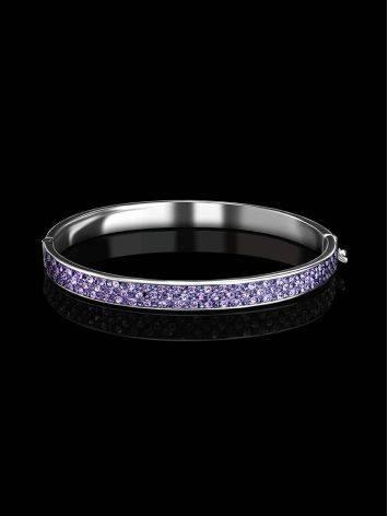 Крупный жесткий серебряный браслет с лиловыми кристаллами Eclat, фото , изображение 2