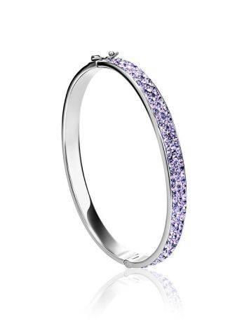 Крупный жесткий серебряный браслет с лиловыми кристаллами Eclat, фото