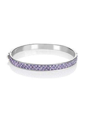 Крупный жесткий серебряный браслет с лиловыми кристаллами Eclat, фото , изображение 3