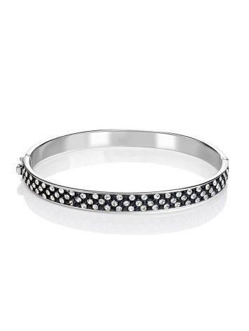 Женственный жесткий браслет с черными и белыми кристаллами Eclat, фото , изображение 3
