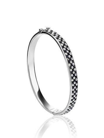 Женственный жесткий браслет с черными и белыми кристаллами Eclat, фото