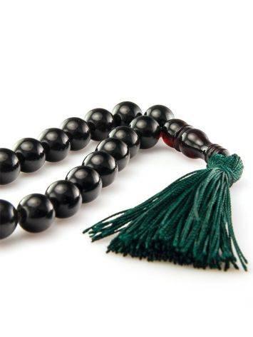 Чётки из натурального формованного янтаря на 33 бусины-шара, фото , изображение 3
