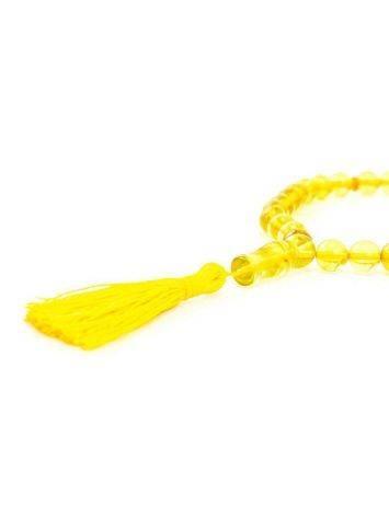 Чётки из натурального янтаря ярко-лимонного цвета на 33 бусины, фото , изображение 4