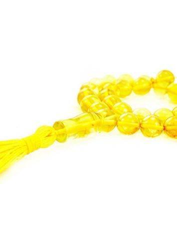 Чётки из натурального янтаря ярко-лимонного цвета на 33 бусины, фото , изображение 2