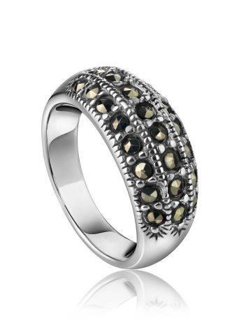 Нежное серебряное кольцо с марказитами Lace, Размер кольца: 16, фото