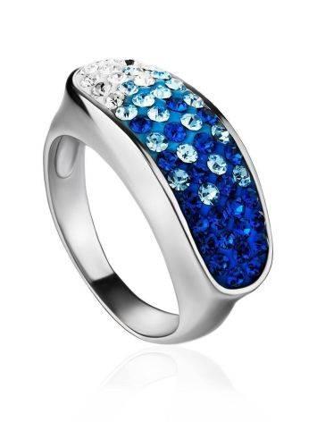 Широкое серебряное кольцо с двухцветными кристаллами Eclat, Размер кольца: 17, фото