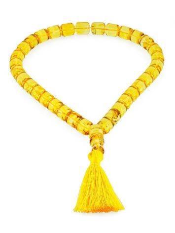 Сияющие чётки из натурального янтаря «Бочонки лимонные», фото , изображение 3