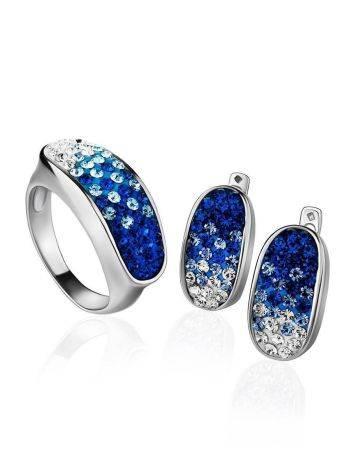 Широкое серебряное кольцо с двухцветными кристаллами Eclat, Размер кольца: 17, фото , изображение 5