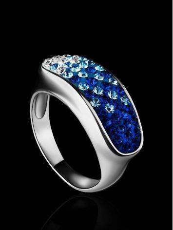 Широкое серебряное кольцо с двухцветными кристаллами Eclat, Размер кольца: 17, фото , изображение 2