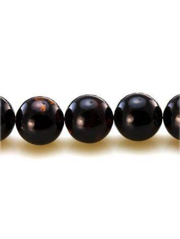 Чётки на 33 бусины-шара из натурального формованного янтаря чёрного цвета, фото , изображение 4