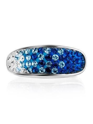 Широкое серебряное кольцо с двухцветными кристаллами Eclat, Размер кольца: 17, фото , изображение 4