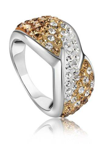 Эффектное серебряное кольцо с желтыми и белыми кристаллами Eclat, Размер кольца: 17, фото