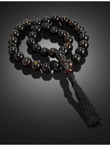 Чётки из натурального формованного янтаря на 33 бусины-шара, фото , изображение 2