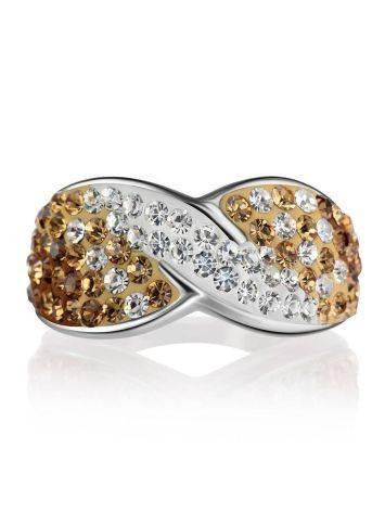 Эффектное серебряное кольцо с желтыми и белыми кристаллами Eclat, Размер кольца: 17, фото , изображение 3