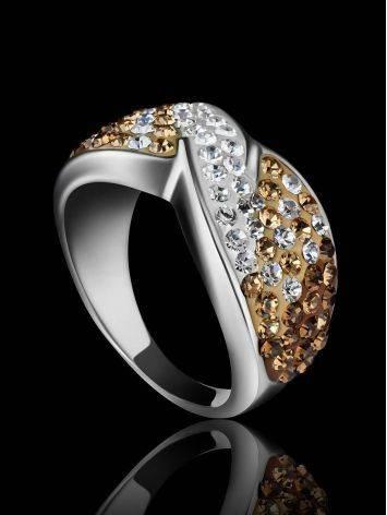 Эффектное серебряное кольцо с желтыми и белыми кристаллами Eclat, Размер кольца: 17, фото , изображение 2