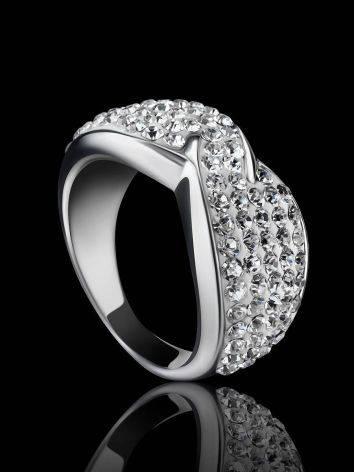 Эффектное серебряное кольцо с белыми кристаллами Eclat, Размер кольца: 16, фото , изображение 2