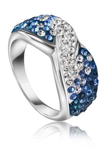 Эффектное серебряное кольцо с белыми и голубыми кристаллами Eclat, Размер кольца: 17.5, фото