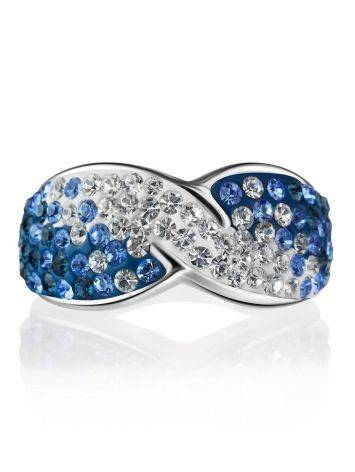 Эффектное серебряное кольцо с белыми и голубыми кристаллами Eclat, Размер кольца: 17.5, фото , изображение 3