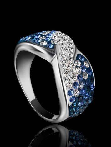 Эффектное серебряное кольцо с белыми и голубыми кристаллами Eclat, Размер кольца: 17.5, фото , изображение 2