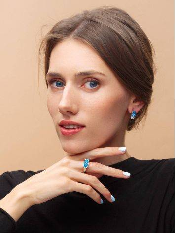 Широкое серебряное кольцо с двухцветными кристаллами Eclat, Размер кольца: 17, фото , изображение 3