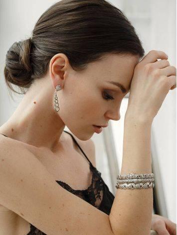 Серебряный браслет-обруч с марказитами Lace, фото , изображение 4