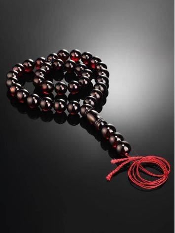 Крупные мусульманские чётки на 33 бусины-шара из формованного вишнёвого янтаря, фото , изображение 2
