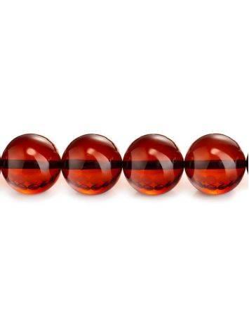 Глянцевые чётки на 33 бусины-шарика из натурального янтаря вишневого цвета, фото , изображение 3