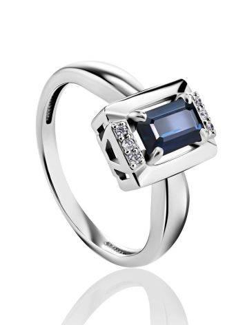 Стильное кольцо из белого золота с сапфиром и бриллиантами «Ундина», Размер кольца: 16.5, фото
