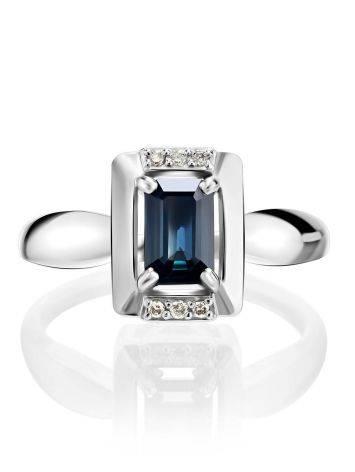 Стильное кольцо из белого золота с сапфиром и бриллиантами «Ундина», Размер кольца: 16.5, фото , изображение 3