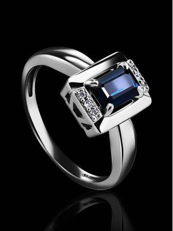 Стильное кольцо из белого золота с сапфиром и бриллиантами «Ундина», Размер кольца: 16.5, фото , изображение 2