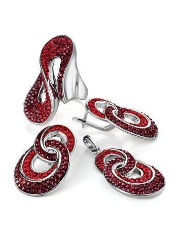 Изящное серебряное кольцо с красными кристаллами Eclat, Размер кольца: 18, фото , изображение 5