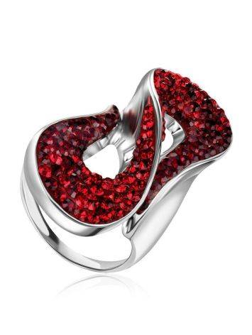 Изящное серебряное кольцо с красными кристаллами Eclat, Размер кольца: 18, фото
