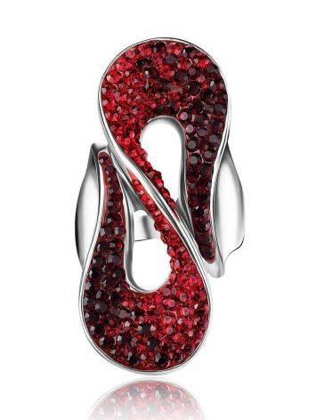Изящное серебряное кольцо с красными кристаллами Eclat, Размер кольца: 18, фото , изображение 4