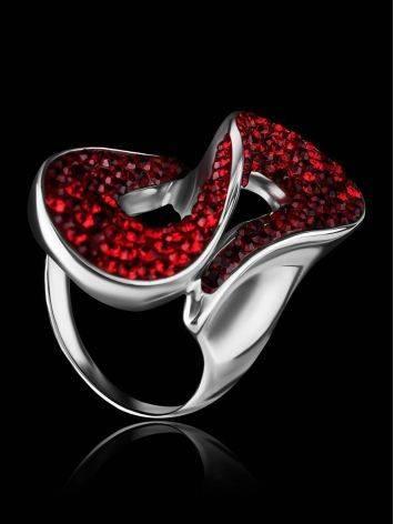 Изящное серебряное кольцо с красными кристаллами Eclat, Размер кольца: 18, фото , изображение 2