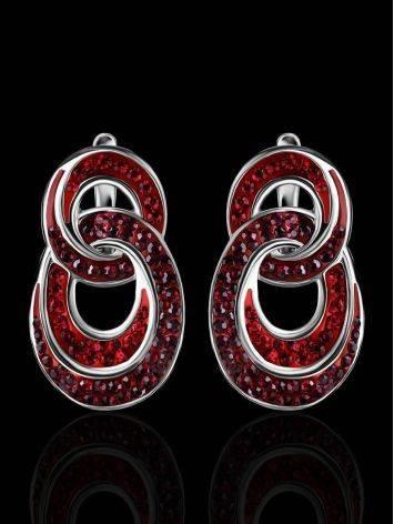 Серебряные серьги с красными кристаллами Eclat, фото , изображение 2