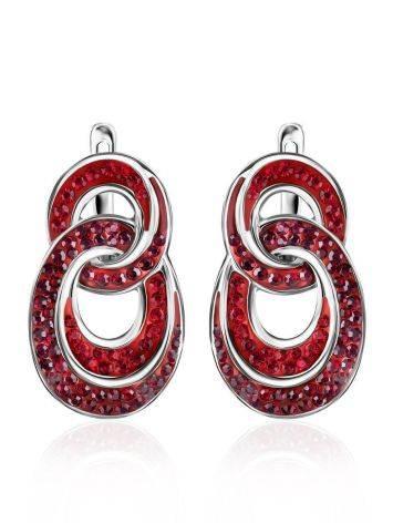 Серебряные серьги с красными кристаллами Eclat, фото