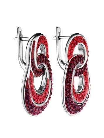 Серебряные серьги с красными кристаллами Eclat, фото , изображение 4