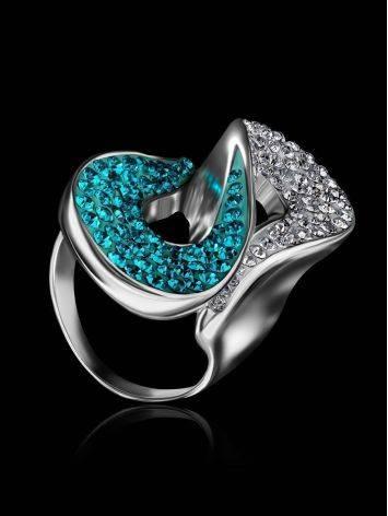 Изящное серебряное кольцо с белыми и зелеными кристаллами Eclat, Размер кольца: 17, фото , изображение 2