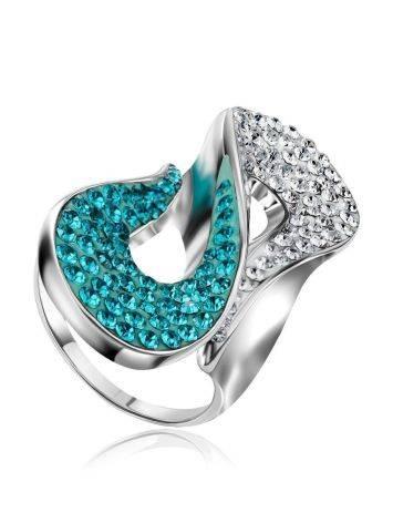 Изящное серебряное кольцо с белыми и зелеными кристаллами Eclat, Размер кольца: 17, фото