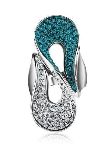 Изящное серебряное кольцо с белыми и зелеными кристаллами Eclat, Размер кольца: 17, фото , изображение 3