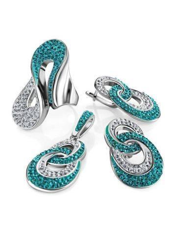 Серебряные серьги с белыми и зелеными кристаллами Eclat, фото , изображение 5