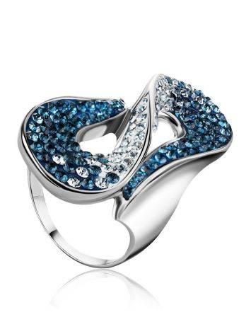 Изящное серебряное кольцо с белыми и синими кристаллами Eclat, Размер кольца: 20, фото