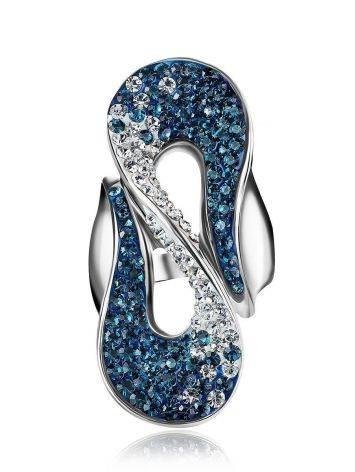 Изящное серебряное кольцо с белыми и синими кристаллами Eclat, Размер кольца: 20, фото , изображение 3