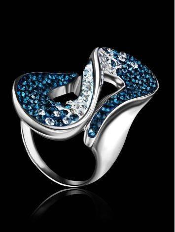 Изящное серебряное кольцо с белыми и синими кристаллами Eclat, Размер кольца: 20, фото , изображение 2