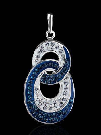 Серебряная подвеска с белыми и синими кристаллами Eclat, фото , изображение 2