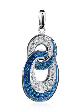 Серебряная подвеска с белыми и синими кристаллами Eclat, фото , изображение 3