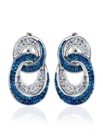 Серебряные серьги с белыми и голубыми кристаллами Eclat, фото