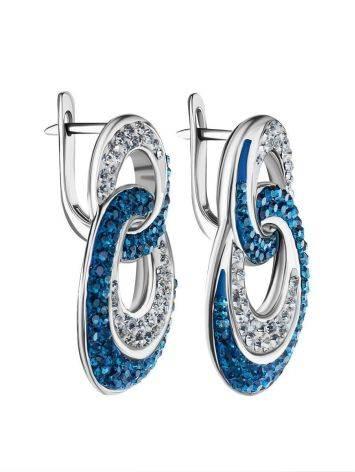 Серебряные серьги с белыми и голубыми кристаллами Eclat, фото , изображение 3