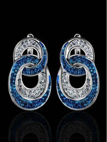 Серебряные серьги с белыми и голубыми кристаллами Eclat, фото , изображение 2