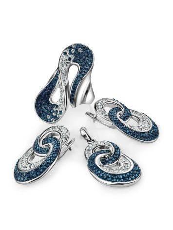 Серебряные серьги с белыми и голубыми кристаллами Eclat, фото , изображение 4